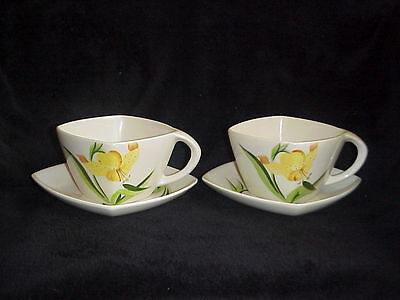 Winfield TIGER LILY Vintage CUP & SAUCER SETS (2) Fine China Made in California