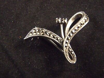 Vintage Art Deco Marcasite Silver Small Bow Brooch Stamped Sterling Germany 30's