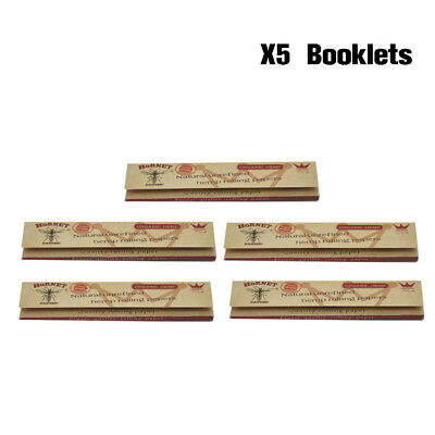 5 x Hornet Organic Brown 110MM Smoking Cigarette Rolling Paper 32leaves