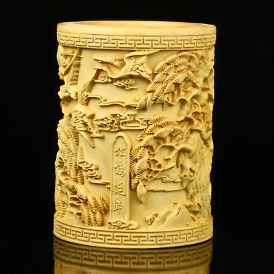 Chinese Boxwood Hand-carved Pine Tree & Crane Brush Pot