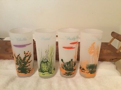 8 Blakely Oil & Gas Arizona Cactus Frosted Glasses W/ Decanter