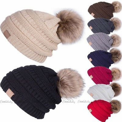 AU Women Winter Warm Knitted Beanie Ski Hat Kid Baby Faux Fur Bobble POM POM Cap