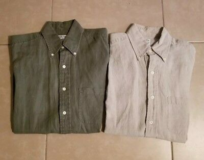 Lot of 2 Brooks Brothers Men's Sport Shirts Linen Button Down Long Sleeve size S