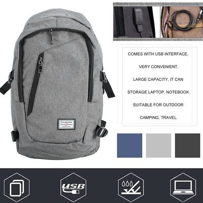 Anti-theft Mens Womens Laptop Backpack Travel School Bag + USB Charging Port AUS