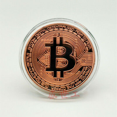 1 Pc Bitcoin Coin Rose Gold Plated Art Collection Physical Collectible Gift BTC