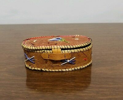 Great Lakes Indian Quill Birch Bark Basket Box Native American First Nation