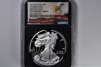 2016-W PROOF American Eagle Silver Dollar $1 NCG PF 70 ULTRA CAMEO Lettered 1st