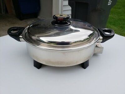 """OIL CORE Surgical Stainless Steel Waterless 12"""" Electric Fry Pan Skillet & Cover"""