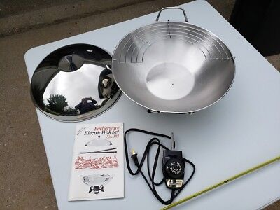 FARBERWARE Electric Wok Set Stainless Steel No. 303 & Use Guide Cookware NICE!