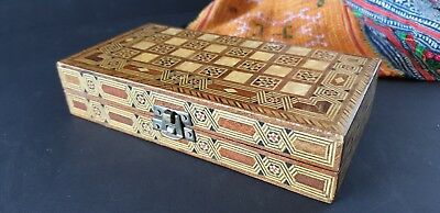 Old Inlaid Travel Backgammon Set …beautiful collection and accent item