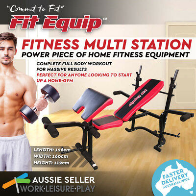 Multi-Station Weight Bench Press 7-in-1 Flat Incline Gym Equipment