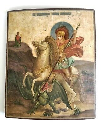 Large 19C Antique Russian Icon of St.George
