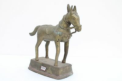1850's Antique Old Hand Crafted Brass Beautiful Big Horse Figurine Statue NH1275