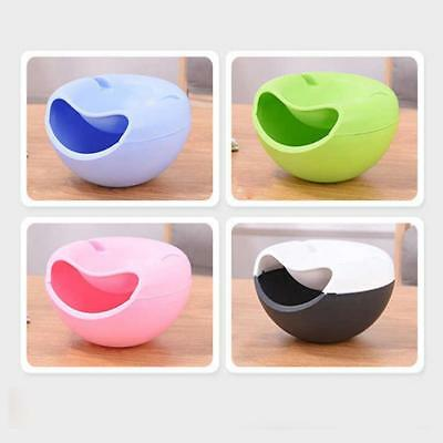 Double Layer Snack Fruit Plate Bowl Dish Phone Holder for TV Lazy Useful