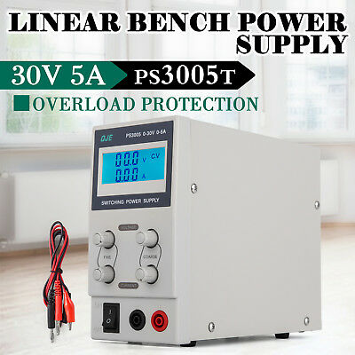 Adjustable 0-30V and 0-5/10A DC Power Supply LED Lab Grade Regulated Variable GP