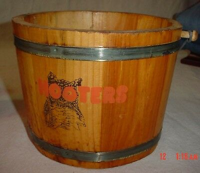 Rare Hooters Owl Oyster Beer Wing Wood Bucket Pail Bar