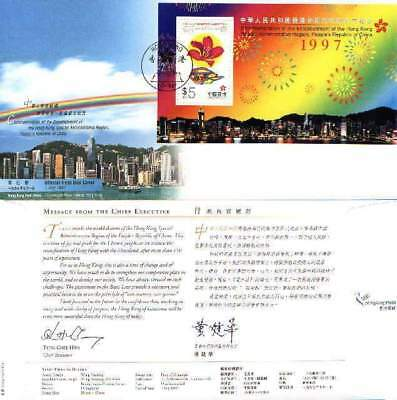 """Hong Kong, 1997, """"first Day Of Return To China"""" S/s On Fdc *can Choose Any Chop"""