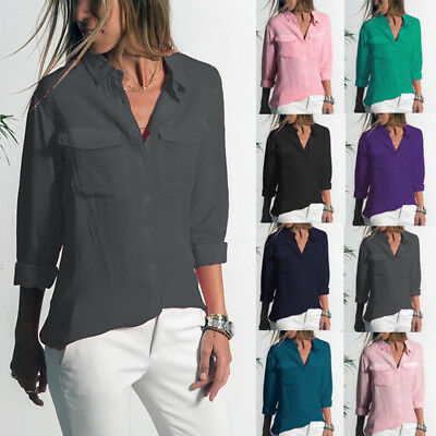 Womens Button Down Shirt Tops Ladies Casual Soft Blouse Selection-Various Colors