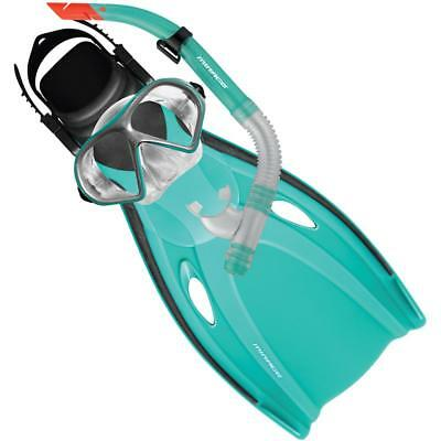 Mission Adult Silitex Mask, Snorkel & Flipper Set In Teal From Mirage RRP $60