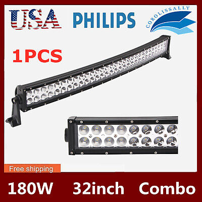 "32""in 180W Curved LED Work Light Bar Offroad Combo Driving Lamp SLIM+Free Wiring"