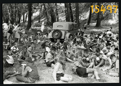 Vintage Photograph, boy scouts, pioneers encampend in forest, uniform 1960's Hun