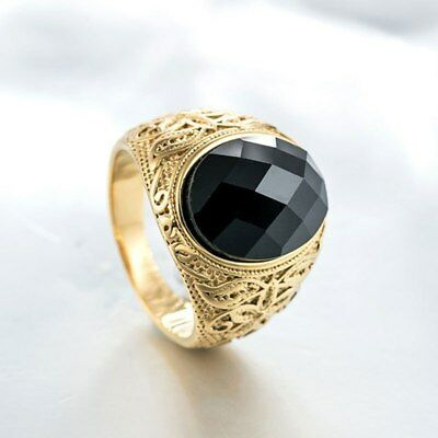 Men's Vintage Gold Stainless Steel Patterned Purple Sand Stone Ring 7/8/9/10/11