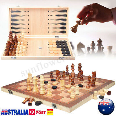 30/40cm Large Chess Wooden Set Folding Chessboard Magnetic Pieces Wood Board AU