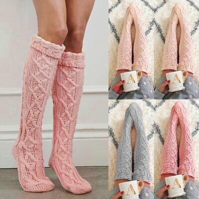 2019 Womens Winter Cable Knit Over Knee Long Boot Thigh-High Warm Socks Leggings