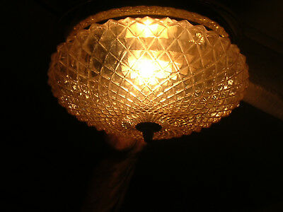 Lovely Vintage Iridescent Gilded Metal And Glass Ceiling Light 60's Era
