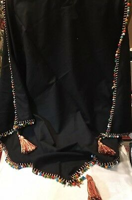 "c1920s BLACK SILK TABLE TOPPER~Hand Beaded Edge, Glass Beads~Tassels~34""x 34""!"