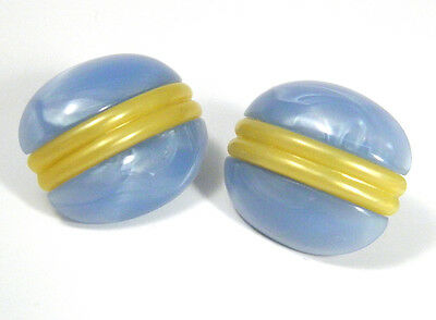 Art Deco Blue Marbled Thermoset Vintage Plastic Earrings Square Yellow Stripe