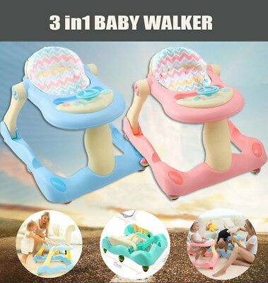 Foldable Baby Walker Toddler Seat Musical Play Tray Toy First Steps Learn Tools