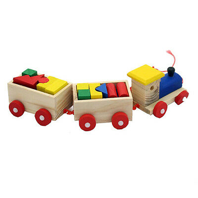 Kids Baby Developmental Toys Wooden Train Truck Set Geometric Blocks N7