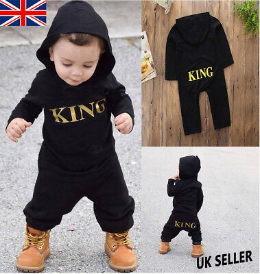 Newborn Kid Baby Boy King Infant Romper Jumpsuit Bodysuit Hooded Clothes Outfit