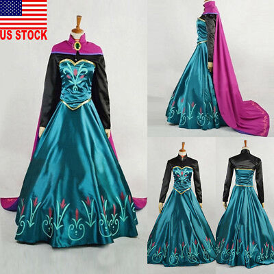 New Women Dress With Cape Anna Princess Party Stage Fancy Cosplay Costume