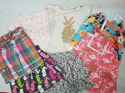 Lot Of 7 Girls 5-6 Clothing Shorts Tops Dress Crazy 8 H&M Pumpkin Patch gymboree