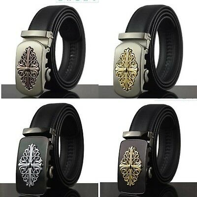 Latest Mens Gothic Belts Automatic Leather Belt New Gift For Men Boys Graphite