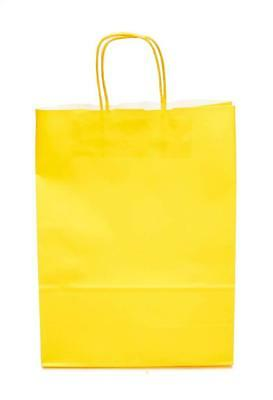 100x Yellow Coloured Kraft Twisted Handle Paper Carrier Bags Large - 320x130x425