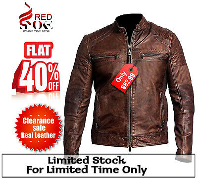 40% Men Biker Vintage Cafe Racer Distressed Brown Leather Jacket Clearance Sale