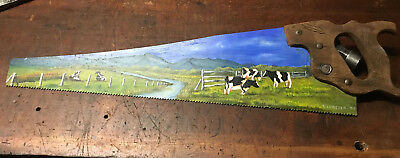 """Hand Painted Folk Art Disston Hand Saw """"Friesian cows In Pasture"""""""