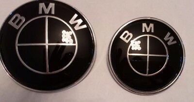 Pair Full Black 82Mm For Bmw Front And 74Mm Back Badges High Gloss Epoxy Resin