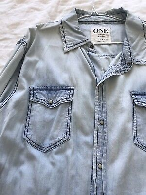 One Teaspoon Distressed Denim Ripped Shirt Button Up Size M