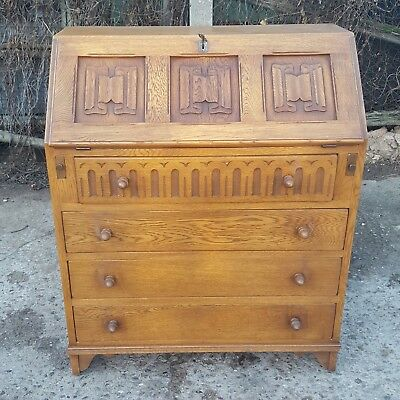 Antique Vintage Jaycee Small Solid Oak Bureau