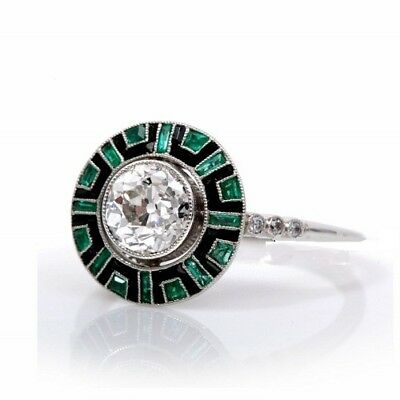 1.95CT Vintage Art Deco Round Cut and Emerald, Enamel Engagement Ring 925 Silver