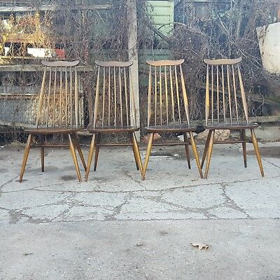 Set of 4 Ercol Windsor Goldsmith Solid Elm and Beech Chairs with Blue labels