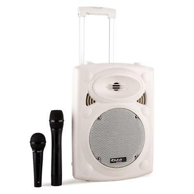 """400W Portable Active 8"""" Speaker Usb Sd Mp3 Bluetooth Pa System + 2 Microphones"""