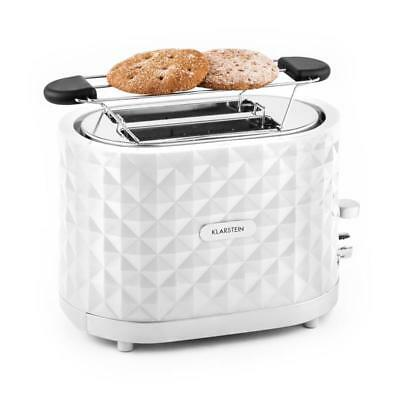Stylish Klarstein 1000W Toaster Double Slice Heating Rack Defrost Mode - White