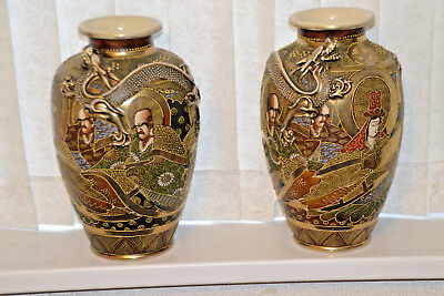 Antique Japanese Large Pair Of Satsuma Vases Signed On Base