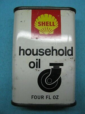 Shell Household Oil Net Four Fl Oz Home Lubricant Tin Can