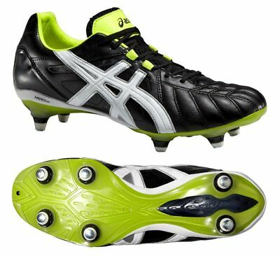 Asics Lethal Tigreor 8K ST Onyx/White/Flash Yellow Rugby Boots UK 8,9,10 & 11